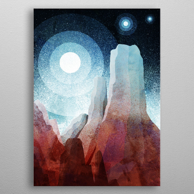 A great other worldly design by Swade. Inspired by mountains and rocks throughout our solar system . metal poster