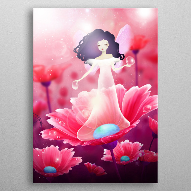Illustration of a dew fairy dropping water on a flower.  metal poster