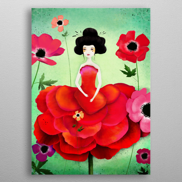 Illustration of a flower fairy in a field of anemone.  metal poster
