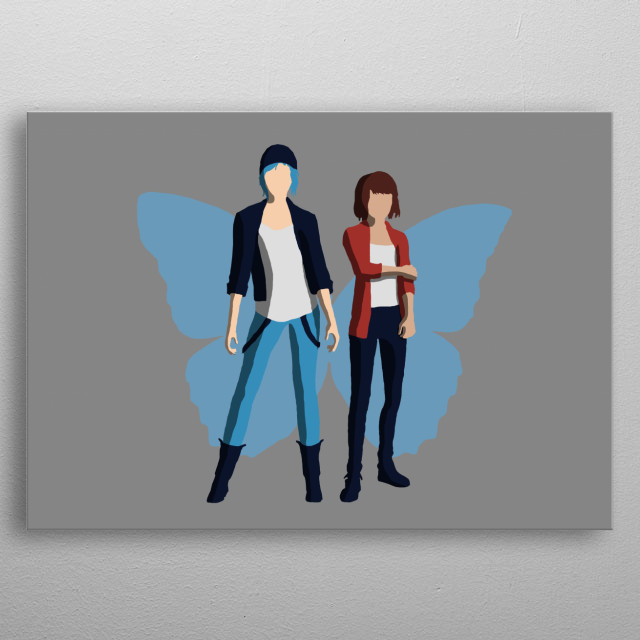 Illustration of the two main characters from Life Is Strange, Chloe and Max. metal poster