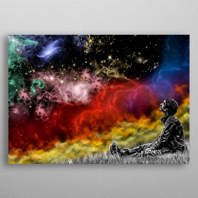 ilustración inspirada en la figura humana dentro de la galaxia  metal poster