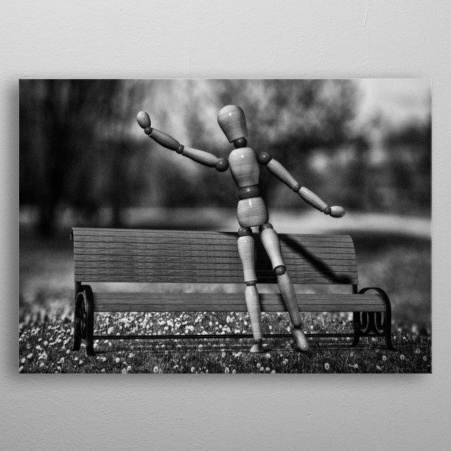When the taxi does come it drives on by. Plate 2 from the Wooden Man series by Bob Orsillo /  metal poster
