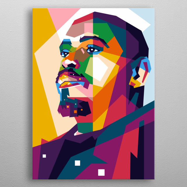 man of WPAP Pop Art, Awesome Collorfull metal poster