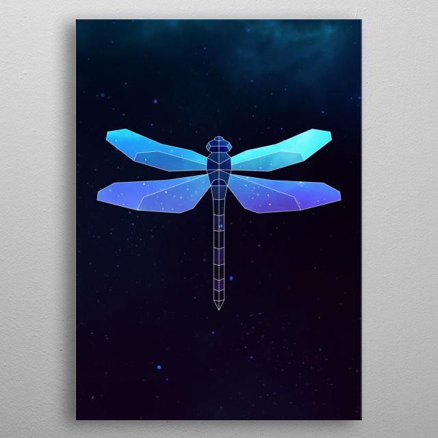 Galaxy dragonfly geometric animal is a combination of low poly and double exposure art of an animal and galaxy image. metal poster