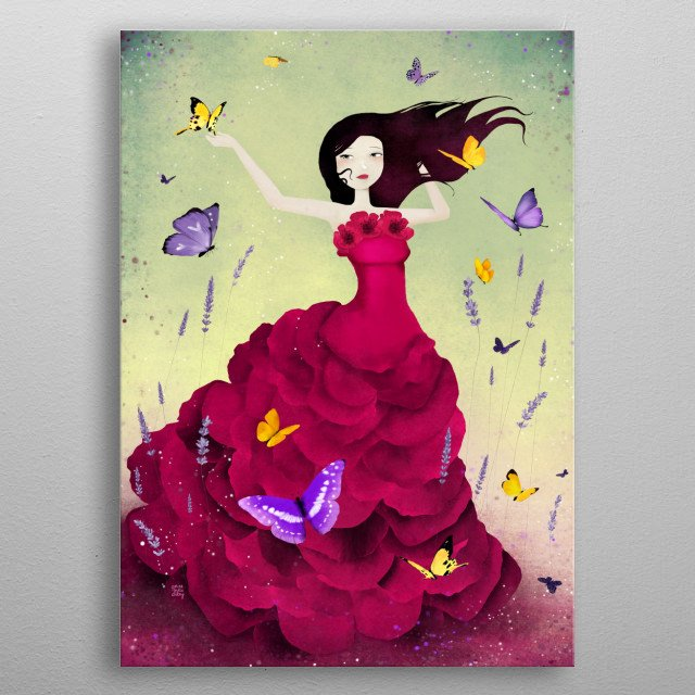 Illustration of a woman in a garden of lavender flowers and butterflies.  metal poster