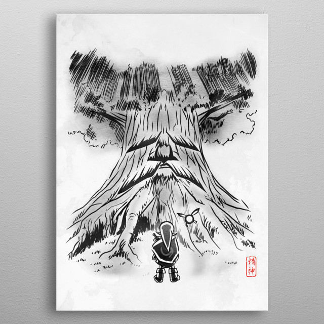 link and  Deku tree metal poster