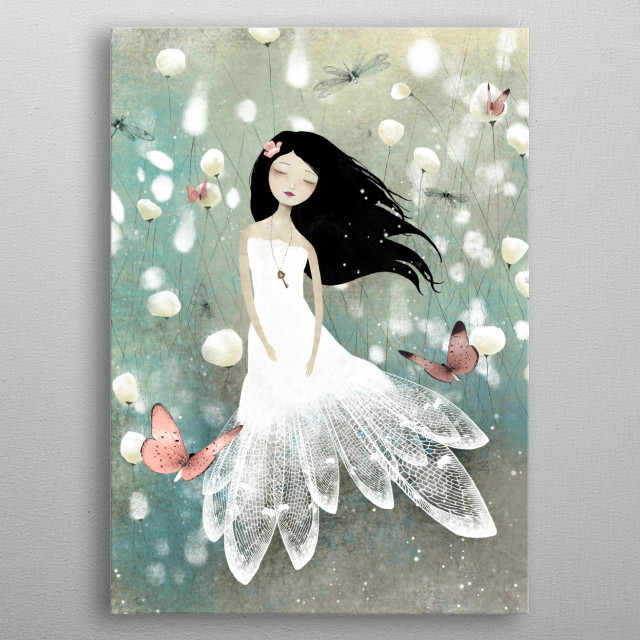 Illustration of a fairy dreaming in a blue field.  metal poster