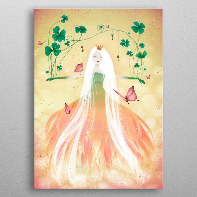 Illustration of a princess fairy who's make growing clover from her arms.  metal poster