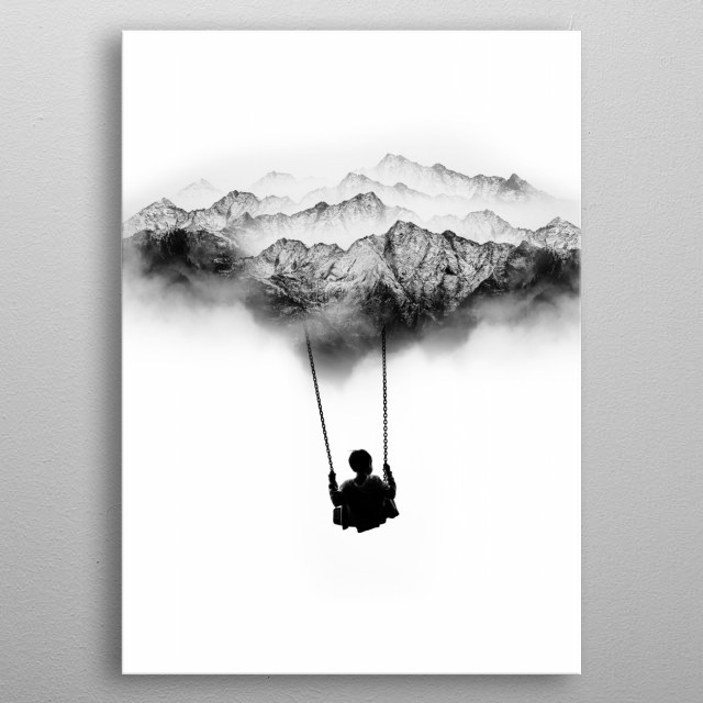 Beautiful Black and White Mountain Swing in the air. This a surreal abstract image. metal poster