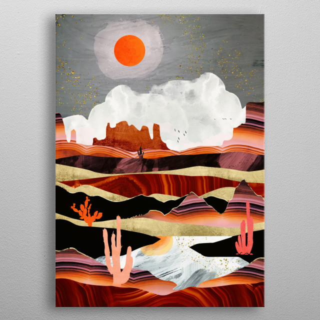 Abstract landscape of a coral desert lake with gold, copper, black, pink and red metal poster