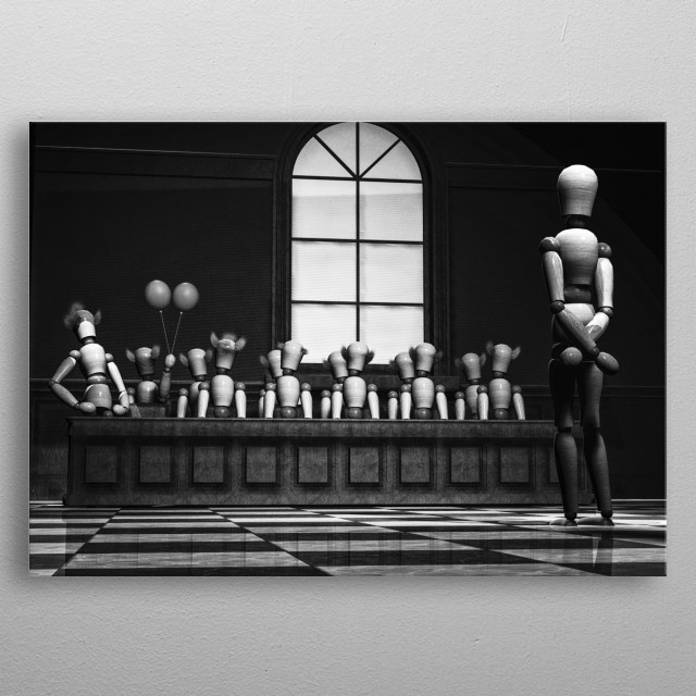 Convicted by a jury of your peers or not. Plate 9 Wooden Man Series by Bob Orsillo /  metal poster