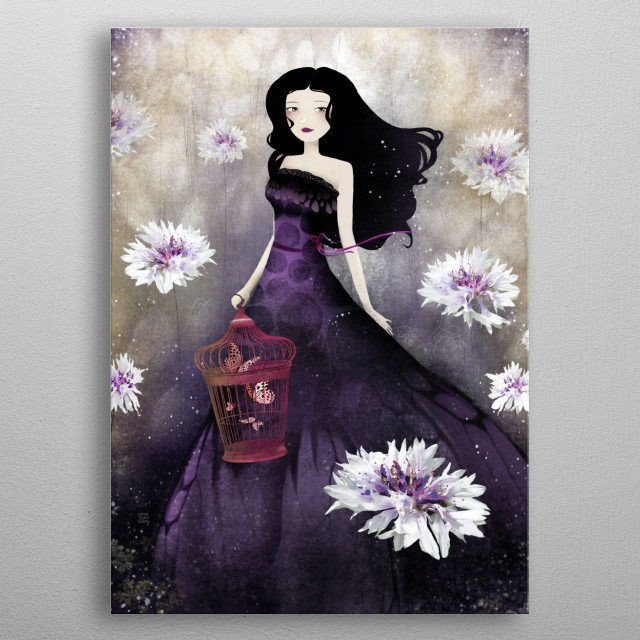 Illustration of a princess hanging a birdcage with butterflies, in a purple meadow filled of carnations.  metal poster