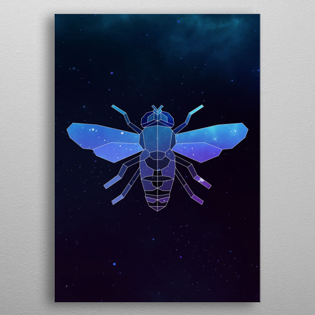 Galaxy bee geometric animal is a combination of low poly and double exposure art of an animal and galaxy image. metal poster