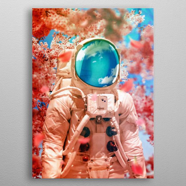 surreal scifi digital collage metal poster