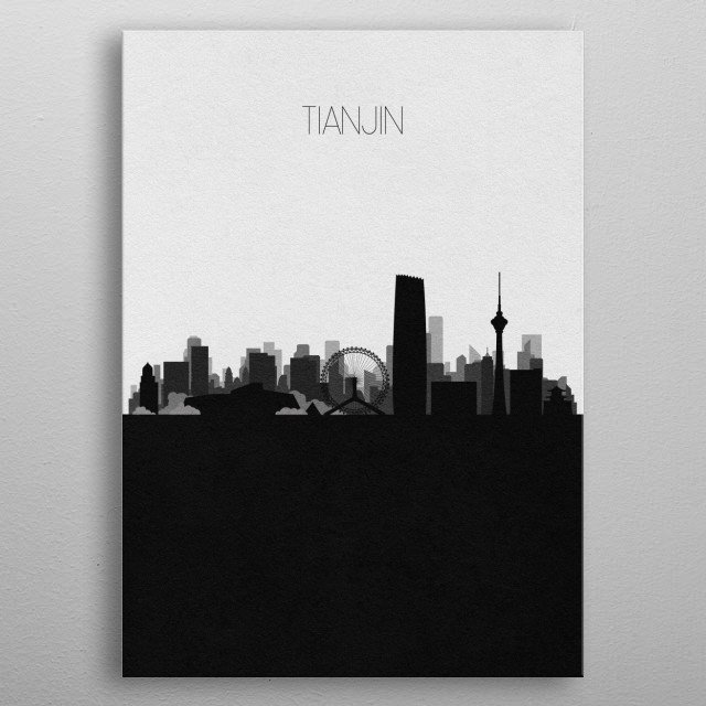Black and white skyline illustration of Tianjin, China. This minimalistic poster features famous landmarks and buildings of the city. metal poster