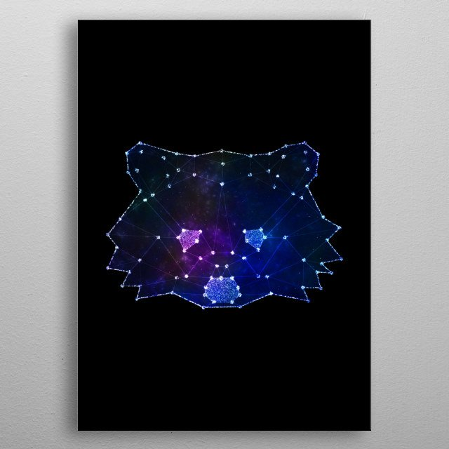 Racoon with galaxy dream effects metal poster