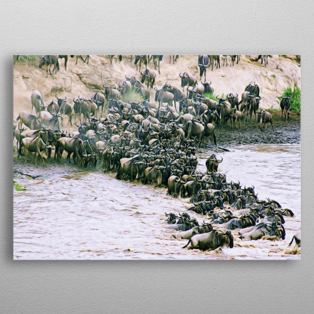 Mesmerizing painted look of a Wilde beast herd crossing the river.  metal poster