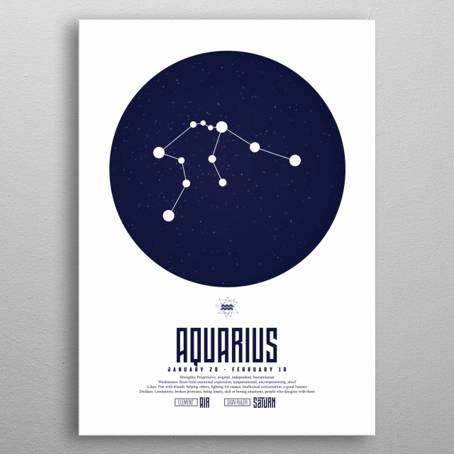 Aquarius is the eleventh astrological sign in the Zodiac, originating from the constellation Aquarius. metal poster