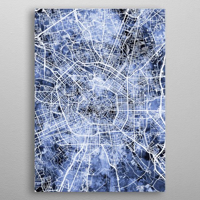 Watercolor street map of Milan, Italy metal poster