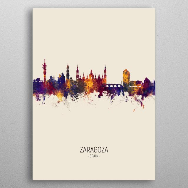Watercolor art print of the skyline of Zaragoza, Spain  metal poster