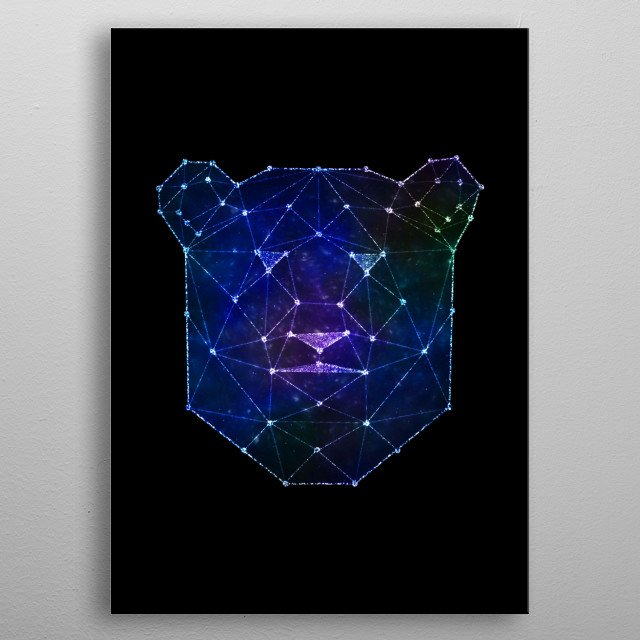Bear with galaxy dream effects metal poster