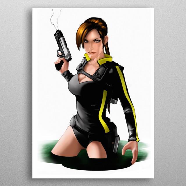 Illustration on Lara Croft , pencil and photoshop metal poster