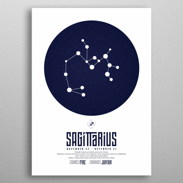 Sagittarius is the ninth astrological sign, which is associated with the constellation Sagittarius and spans 240–270th degrees of the zodiac metal poster