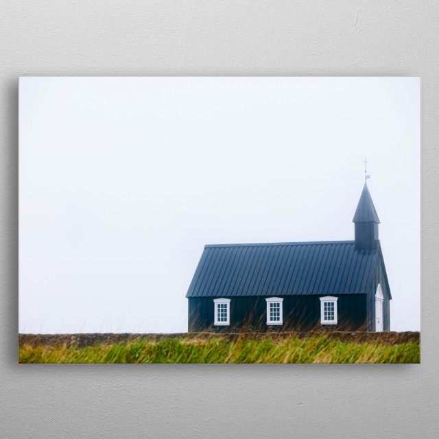 Photograph of a black chapel in Budir, Iceland. metal poster