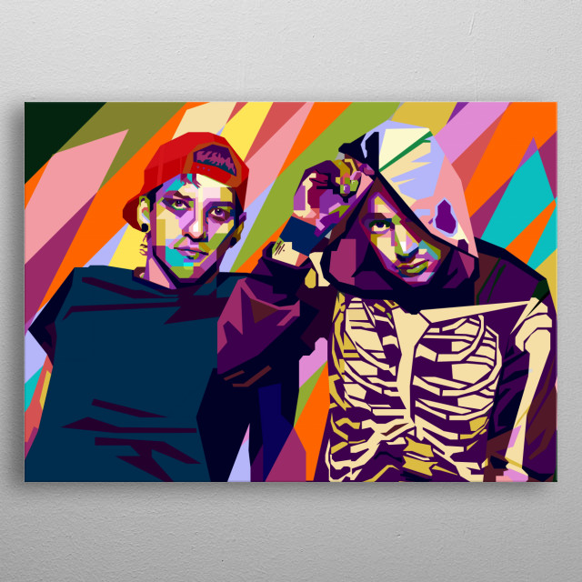 This artwork is inspired by phenomenal american musical duo, Twenty One Pilots. metal poster
