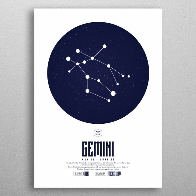 Gemini is the third astrological sign in the zodiac, originating from the constellation of Gemini. metal poster