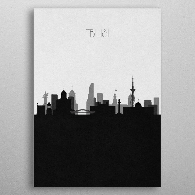 Black and white skyline illustration of Tbilisi, Georgia. This minimalistic poster features famous landmarks and buildings of the city. metal poster