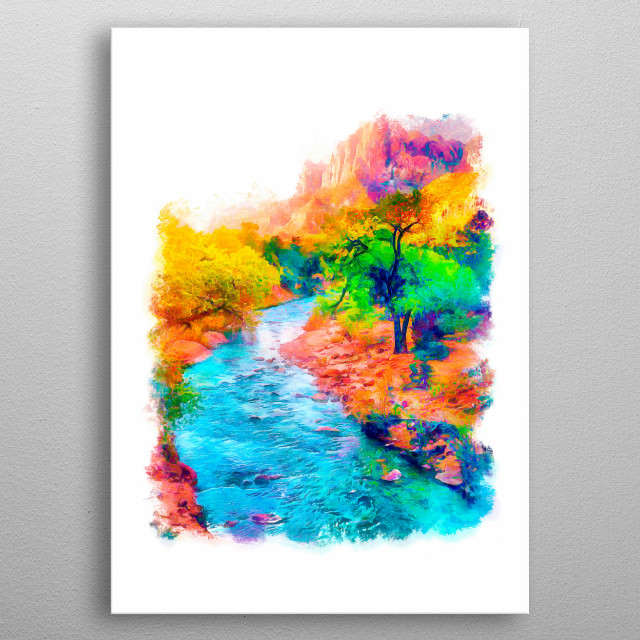 The landscape of a mountain river painted with bright watercolors metal poster