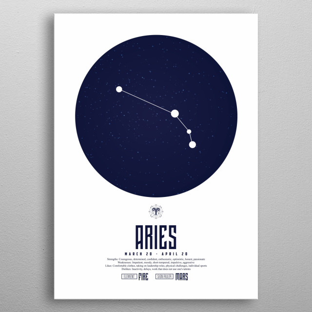 Aries is the first astrological sign in the zodiac, spanning the first 30 degrees of celestial longitude. metal poster