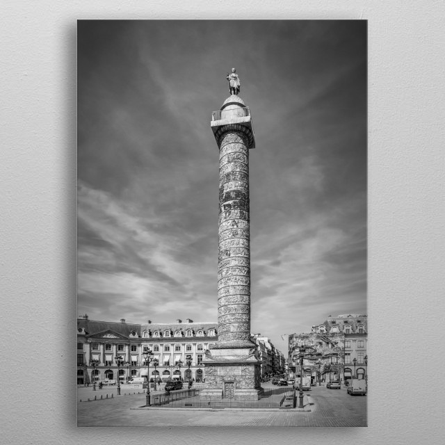 The Colonne Vendôme is crowned by a statue of Napoleon. Classical black and white impression of Place Vendôme. metal poster