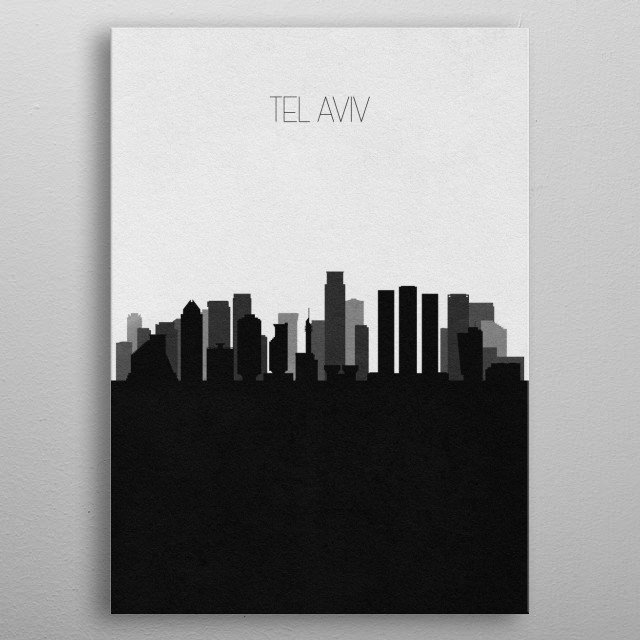 Black and white skyline illustration of Tel Aviv, Israel. This minimalistic poster features famous landmarks and buildings of the city. metal poster