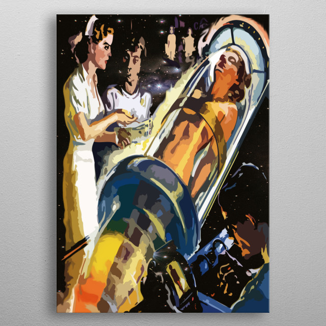 Lets Try It Vintage Creepy Space Experiment  metal poster