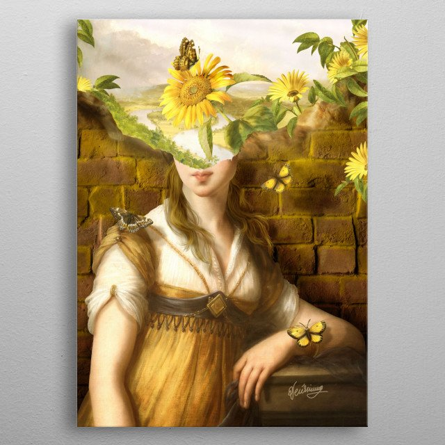 Woman version of the work with sunflowers and butterflies. metal poster