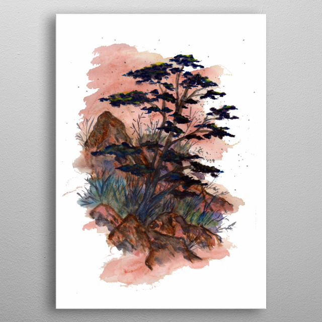 a decorative watercolor artwork of a dry nature scene featuring rocks, grass, bushes and trees in a desert-like environment metal poster