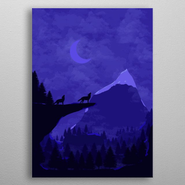 Illustration of mountains and wolfs because wolfs are amazing and I love them. metal poster