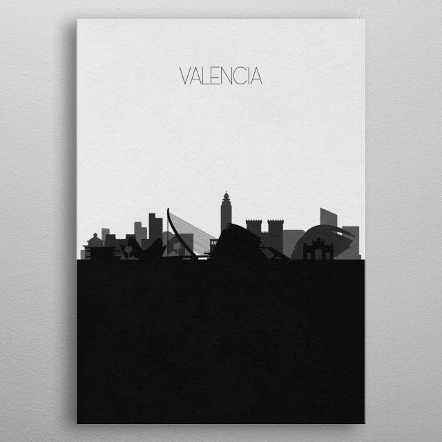 Black and white skyline illustration of Valencia, Spain. This minimalistic poster features famous landmarks and buildings of the city. metal poster