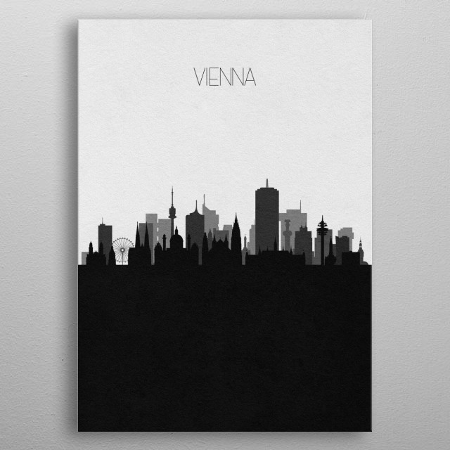 Black and white skyline illustration of Vienna, Austria. This minimalistic poster features famous landmarks and buildings of the city. metal poster