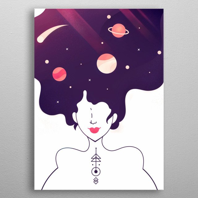 What is inside of your head, mysterious woman? - a whole universe  metal poster
