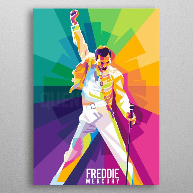 Freddie Mercury was a British singer-songwriter, record producer and lead vocalist of the rock band Queen metal poster