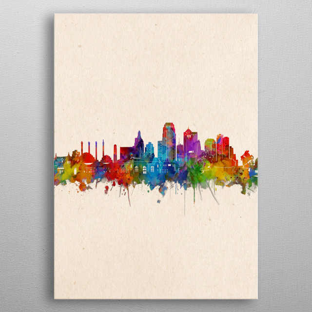 Kansas city skyline inspired by decorative,watercolor,colorful,pop art design metal poster