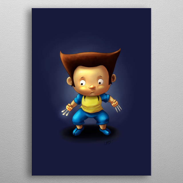 This little boy is playing as wolverine, but he mistakenly used the spoon and for as his claws. metal poster