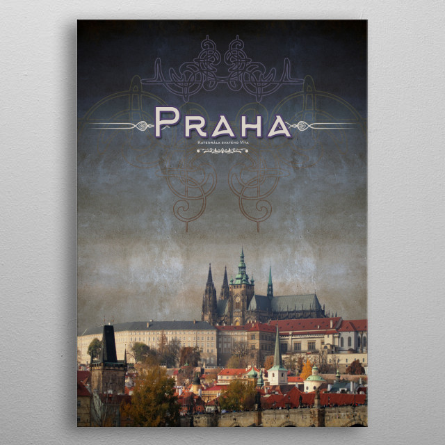 Series of photographs of the city of Prague metal poster