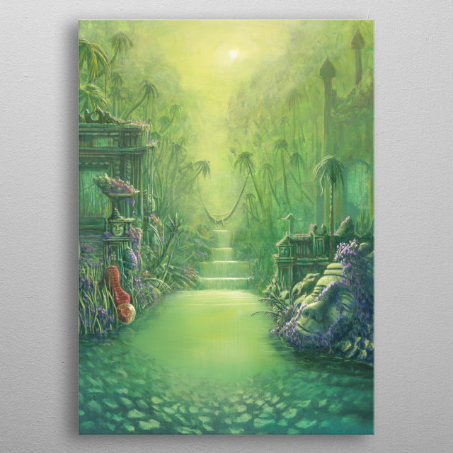 Space tiger drinks from ancient waters. Original painted with acrylic on canvas. metal poster