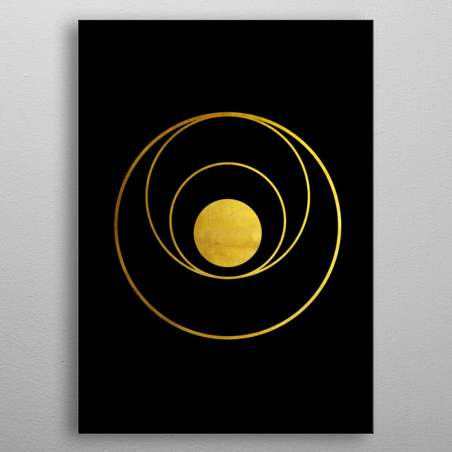Abstract composition with golden orbits. Golden disk as a planet and orbits as its  of unknown worlds. metal poster