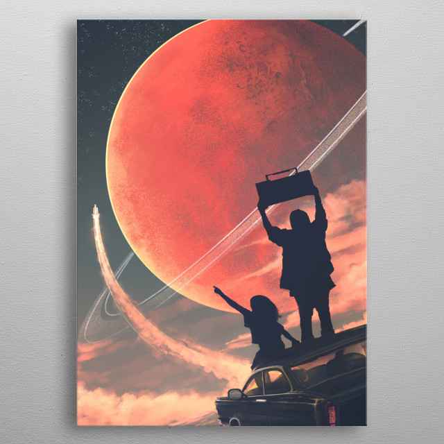 Illustration of an alien landscape, with two kids on the roof of an old car watching a spaceship launch in the distance. metal poster