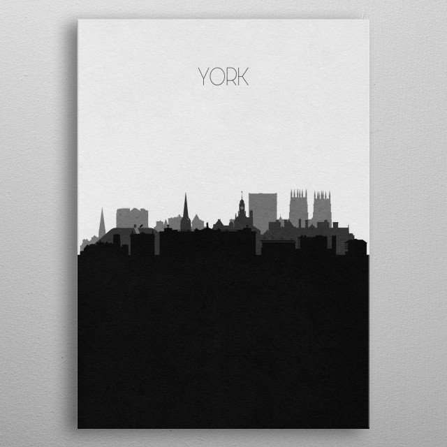 Black and white skyline illustration of York, England. This minimalistic poster features famous landmarks and buildings of the city. metal poster